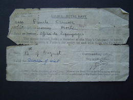 MILITARIA : MARINE ANGLAISE / AUTORISATION OHMS ROYAL NAVY - CAPETOWN 1939 - Documenti
