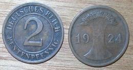 N°400 2 RENTENPFENNIG 1924J - 2 Rentenpfennig & 2 Reichspfennig