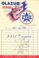 FRANCE - 1959 - Facture - OLAZUR - Huile - Cars