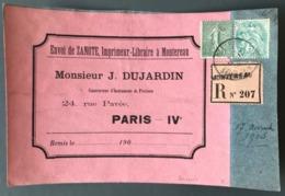 France N°111 Et 130 Sur Devant De Lettre Recommandé De Montereau 13 Novembre 1905 - (W1001) - 1877-1920: Semi Modern Period