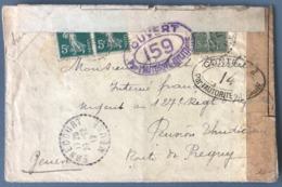 France N°130 Et 137 (x2) Sur Lettre 1917 - Censure 159 - TAD (type B4) ERNECOURT - (W1035) - 1877-1920: Periodo Semi Moderno