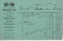 FRANCE - 1882 - Facture - RONSSERAY Fils - Fabrique De Chicorée, Amidons, Miels... - Droguerie & Parfumerie