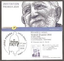 FRANCE - LA POSTE - Carte INVITATION PREMIER JOUR. Timbre Abbé Pierre. Y&T N° 4435. - Frankreich