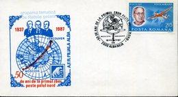 Entiere Postale, Roumanie, Avion, 1987, 50 Years First Flight Over North Pole - Voli Polari