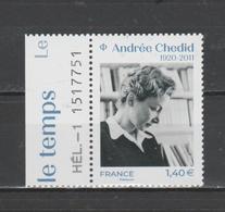 FRANCE / 2020 / Y&T N° 5388 ** : Andrée Chédid X 1 BdF G Avec N° De Feuille & Presse - Ongebruikt