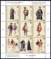 Ordre De Malte SMOM 0943/51 Costumes Et Uniformes Des Chevaliers De Jérusalem , Feuille - Costumes
