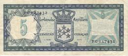 BILLETE DE CURAÇAO DE 5 GULDEN DEL AÑO 1972  (BANK NOTE) - Antilles Néerlandaises (...-1986)