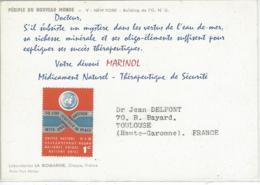 CARTE ETATS UNIS PUB MEDICALE MARINOL - Covers & Documents