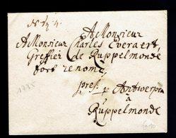 Enveloppe Antwerpen => Ruppelmonde 1735 - 1789-1790 (Brabantse Omwenteling)