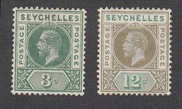 Seychelles 1912 3c , 12c    SG72 & SG74  MH - Seychelles (...-1976)