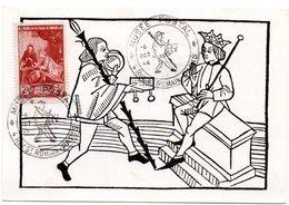 PARIS 1946 = CARTE MAXIMUM + CACHET TEMPORAIRE  Illustré D'un MESSAGER à Pied = MUSEE POSTAL  + Timbre N° 753 - Cartes-Maximum