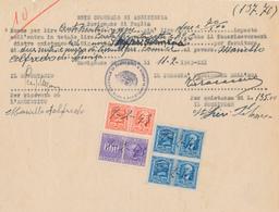 1943 RICEVUTA CON MARCHE DA BOLLO INTERE IGE + SCAMBI COMMERCIALI 0,60 CENT - Zonder Classificatie