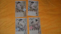 LOT 4 CARTES POSTALES  ANCIENNES CIRCULEES DE 1905.../ ENVOI DE FLEURS...DE LA PART DE....CACHET + TIMBRE - Femmes