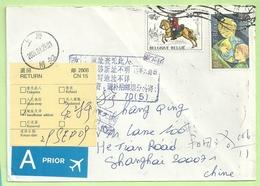 Brief  Naar CHINA, Strookje RETURN   (B9184) - Belgique