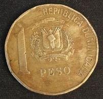 """REPUBLIQUE DOMINICAINE - 1 PESO 1991 - """"DUARTE"""" Sur Le Buste - KM 80.1 - Juan Pablo Duarte Y Diez - Dominicaine"""