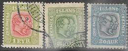 Iceland  1915  Sc#99, 102, 107  1e/5a/20a  Used  2016 Scott Value $47.50 - Oblitérés