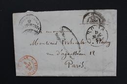 1859 ROME CAD DU 04/05/1859 POUR PARIS, CAD ROUGE MARSEILLE ENTREE MARIT  8/5/1859,CAD PARIS  (2) 10/05/1859 - Marcophilie (Lettres)