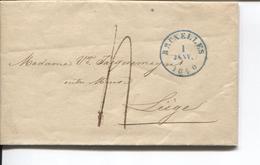 REF1107/ Précurseur LAC Daté De St.Josse Ten Noode 1/1/1840 C.BXL 1/JANV/1840  Port 4 > Liège C.d'arrivée - 1830-1849 (Unabhängiges Belgien)