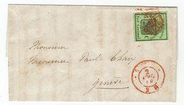 Schweiz GENF No. 4 Auf Brief - 1843-1852 Timbres Cantonaux Et  Fédéraux