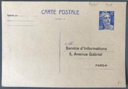 France Entier Gandon N°812-CP1 - Repiquage SERVICE D'INFORMATIONS - Neuf - (W1245) - Entiers Postaux