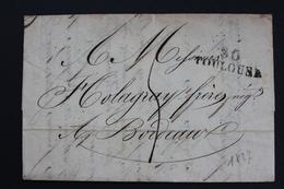 1827 TOULOUSE 30 MARQUE LINEAIRE POUR BORDEAUX TAXE MANUSCRITE 4 DECIMES CAD ARRIVEE 20/12/1827 - 1801-1848: Précurseurs XIX