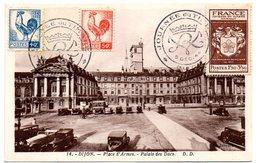 DIJON 1944 = Journée Du TIMBRE / CACHET Illustré + Carte Postale + Timbres = 'COQ D' ALGER' + N° 668 - Marcophilie (Lettres)