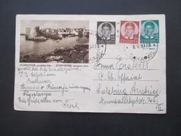 Jugoslawien 1937 Bildpostkarte Ganzsache Mit 2 Zusatzfrankaturen Nach Salzburg Gesendet. - 1931-1941 Kingdom Of Yugoslavia