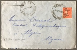 France N°264 (B.I.T.) Seul Sur Lettre De Paris Pour Alger (Algérie) - (W1256) - Marcophilie (Lettres)