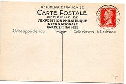 PARIS 1925  = CACHET TEMPORAIRE ' EXPOSITION PHILATELIQUE ' + ENTIER POSTAL TSC TYPE PASTEUR - Enveloppes Types Et TSC (avant 1995)