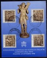 CITTÀ DEL VATICANO VATICAN VATIKAN 1998 ESPOSIZIONE MONDIALE DI FILATELIA ARTE ITALIA 98 BLOCCO FOGLIETTO SHEET USATO - Blocks & Sheetlets & Panes