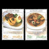 (!)  Timbre EUROPA CEPT De 2005  Thème La Gastronomie  MALTE  Y&T 1363/1364 Neuf(s) ** Mnh - 2005