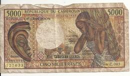 CAMEROUN 5000 FRANCS ND1981 VG P 19 - Kameroen