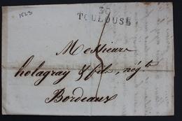 1823 LAC MARQUE LINEAIRE 30 TOULOUSE ¨POUR BORDEAUX  2 JANVIER 1823 TAXE MANUSCRITE 4 DECIMES - 1801-1848: Précurseurs XIX