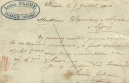 34 - RIOLS - Carte Commerciale Entier Postal -  Louis FABRE ( Textile ) - France