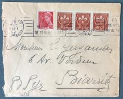 France N°412 Et 527 (x3) Que Lettre De Paris 1942 Pour Biarritz - (W1275) - Marcophilie (Lettres)