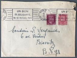 France N°529 Et 530 Sur Lettre De Paris 1942 Pour Biarritz - (W1279) - Marcophilie (Lettres)