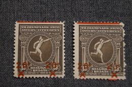 2 Timbres Neuf,Anvers Jeux Olympiques D'Anvers 1920 Surchargé,15 C. à 20 C. Avec Surcharges Déplacées, En Variantes - Unused Stamps
