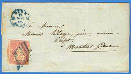 LAC De Bern 13 NOV 54 Vers Moutier, Yv 28b (15 Rappen Fil De Soie Vert, Papier Moyen) - Lettres & Documents