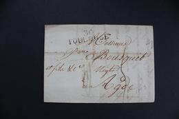 1813 LAC TOULOUSE 30 MARQUE LINEAIRE POUR AGDE  TAXE MANUSCRITE 4 DECIMES - 1801-1848: Précurseurs XIX