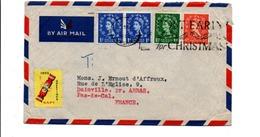 GB AFFRANCHISSEMENT COMPOSE SUR LETTRE POUR LA FRANCE 1958 - 1952-.... (Elizabeth II)