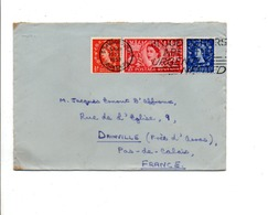 GB AFFRANCHISSEMENT COMPOSE SUR LETTRE DE SCARBOROUGH  POUR LA FRANCE 1953 - 1952-.... (Elizabeth II)
