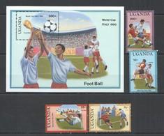 D1415 1989 UGANDA FOOTBALL WORLD CUP ITALY 90 #643-46 MICHEL 10,2 EU BL+SET MNH - Coupe Du Monde