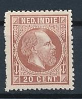 Nederlands Indië - 1868 - 20 Cent Willem III, Proef 21k - Lilabruin - Niederländisch-Indien