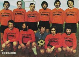 02 BEAURIEUX   Football équipe USFJ  13 X 18 Carte Pubicitaire  SANEL De 1973 - Autres Communes