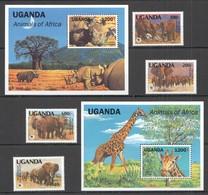 D1417 1991 UGANDA WWF ANIMALS OF AFRICA #960-63 MICHEL 29 EURO 2BL+1SET MNH - W.W.F.