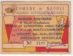 TRAM TRAMWAYS AZIENDA AUTOFILOTRAMVIARIA DI NAPOLI - TESSERA BIGLIETTO TICKET DI ABBONAMENTO 1952 - Abbonamenti
