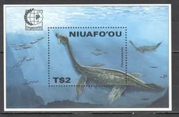 D1424 1995 NIUAFO'OU ANIMALS DINOSAURS SINGAPORE BL291 1BL MNH - Préhistoriques