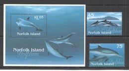 D1427 1997 NORFOLK ISLAND FAUNA FISH & MARINE LIFE DOLPHINS #632-33 SET+BL MNH - Delfini