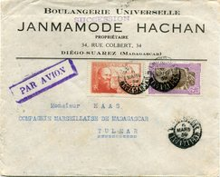 MADAGASCAR LETTRE PAR AVION DEPART DIEGO-SUAREZ 6 MARS 39 MADAGASCAR POUR MADAGASCAR - Madagascar (1889-1960)