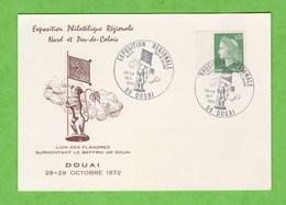 CACHET EXPOSITION REGIONALE NORD PAS DE CALAIS DU 28/29/10/1972 DOUAI NORD SUR CARTE POSTALE - Cachets Commémoratifs